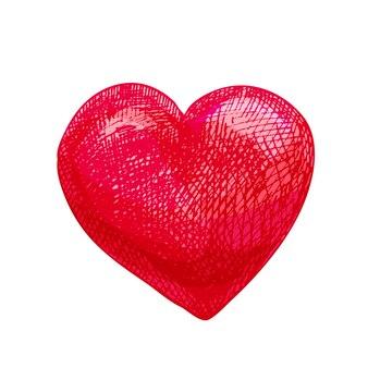 Сердце. векторные цветные винтажные штриховки иллюстрации, изолированные на белом фоне.