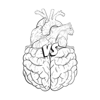 Heart vs brain. concept of mind against love fight, difficult choice. hand drawn black and white illustration.