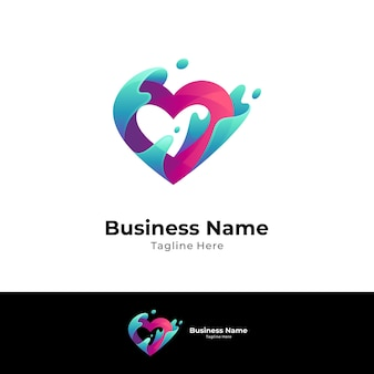 Heart and wave logo concept template