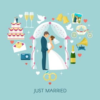 Heart wedding composition