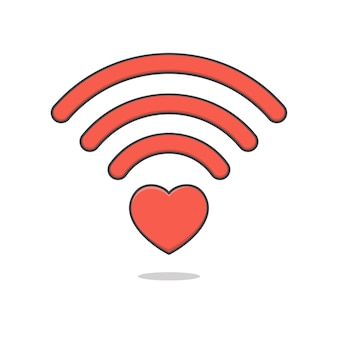 Heart wifi icon illustration isolated