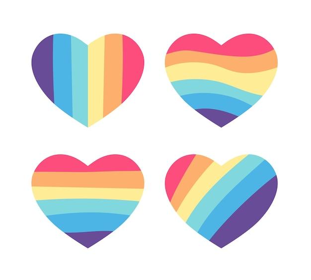 レインボーフラッグのハート。 lgbtコミュニティのシンボル、レズビアンゲイバイセクシャルトランスジェンダーコンセプト愛のシンボル。カラーレインボーフラッグのコレクション。白い背景で隔離のフラットなデザインの兆候