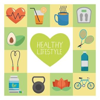 Сердце с пачкой из двенадцати элементов здорового образа жизни установило иллюстрацию