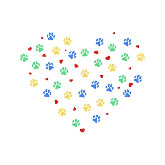Heart with color animasl paw prints and many hearts. vector illustration.