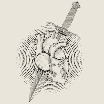 Heart with dagger engraving style