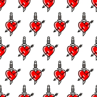 Heart with dagger in the style of old school tattoo seamless pattern