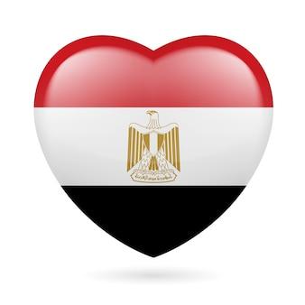 エジプトの国旗の色のハート私はエジプトが大好きです