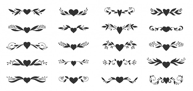 Heart with floral ornaments silhouettes set