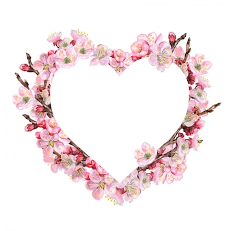 Heart with flowering pink branches