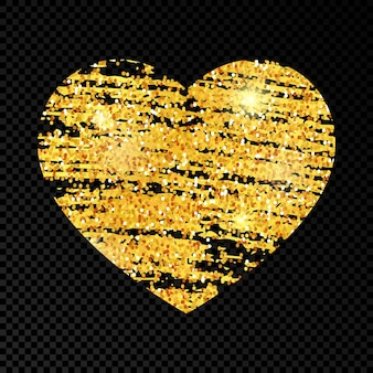 Heart with golden glittering scribble paint on dark transparent background. background with gold sparkles and glitter effect. empty space for your text. vector illustration