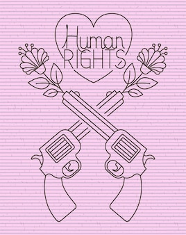 Heart with guns crossed human rights message