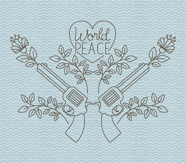 Heart with guns peace message vector illustration design