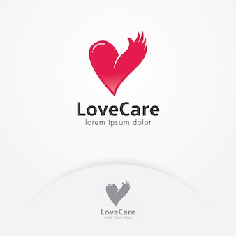Heart with hand logo template for charity