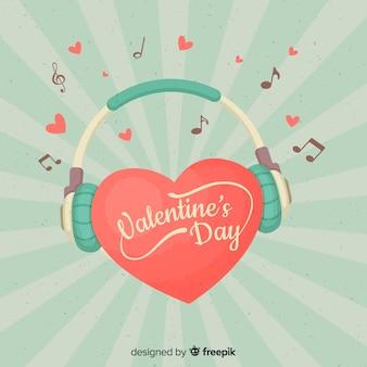 Heart with headphones valentine background