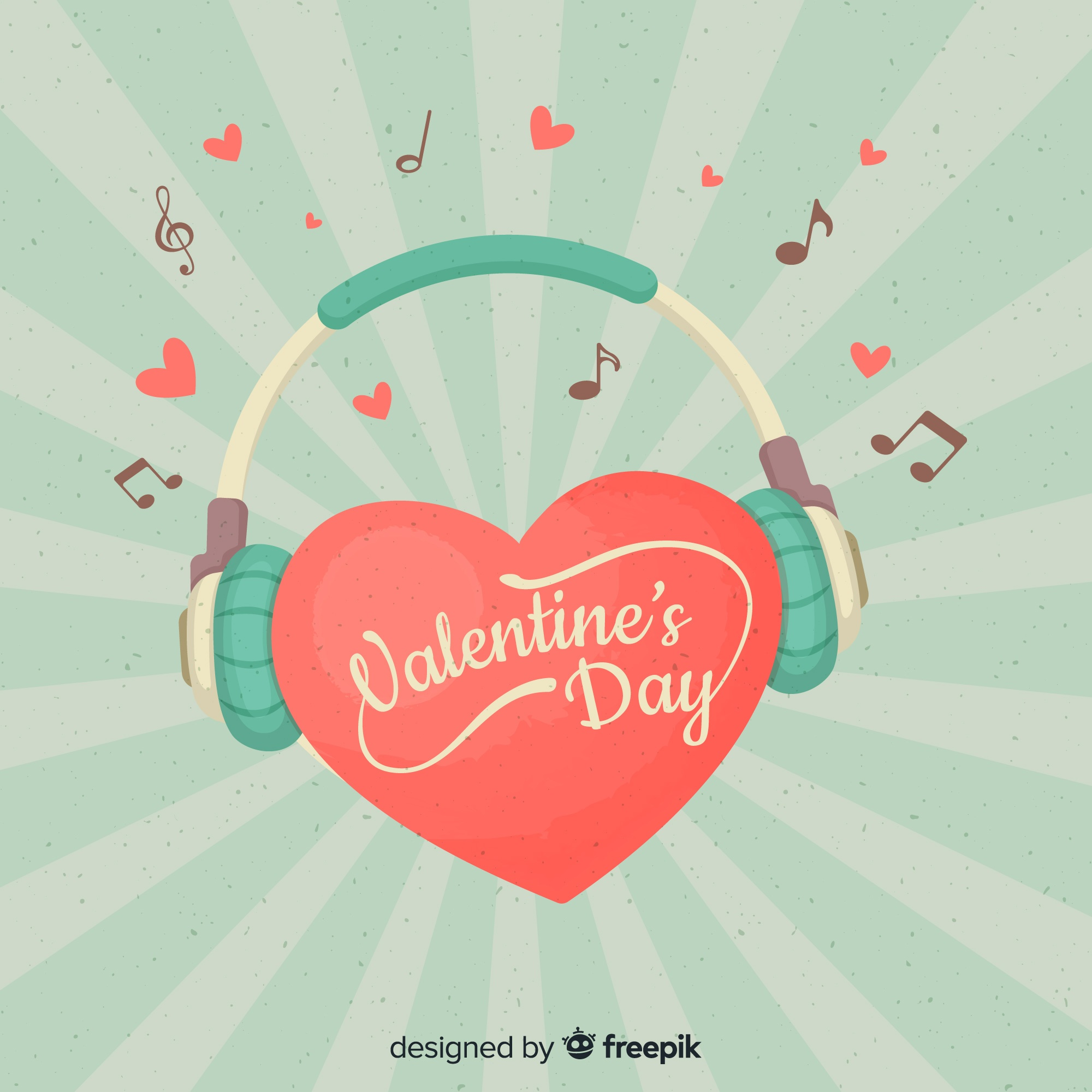 Heart with headphones valentine background