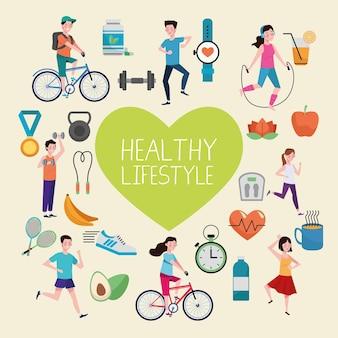 건강한 라이프 스타일 요소와 심장 그림 설정