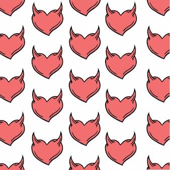 Heart with horn pattern social media post vector illustrations