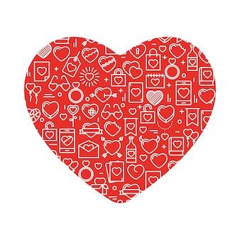 Cuore con le icone. illustrazione vettoriale per giorno di san valentino, matrimonio, celebrazione.