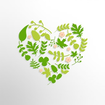 잎과 꽃을 가진 심 혼