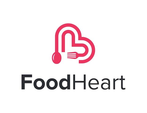 문자 b와 포크 스푼 음식 개요 단순하고 세련된 현대적인 로고 디자인 벡터가 있는 심장