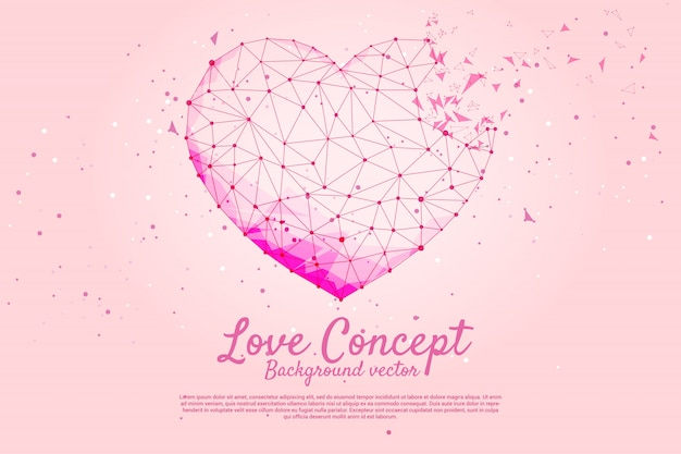 Heart with polygon dot connect line style. valentine's day and love theme banner and poster