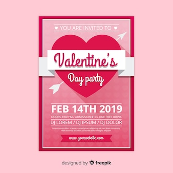 Heart with ribbon valentine party poster template