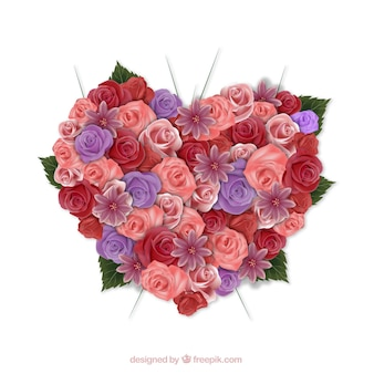 Heart with roses Free Vector