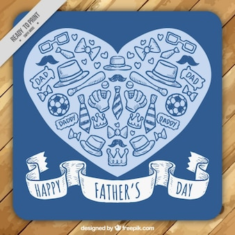 Heart with sketches elements father's day card