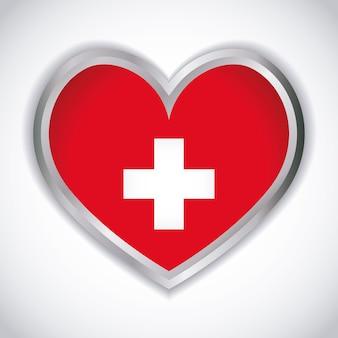 스위스 국기 아이콘으로 심장