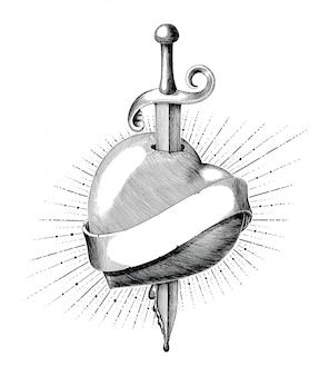剣のタトゥーの手でハートを描く白い背景で隔離のヴィンテージ彫刻スタイル