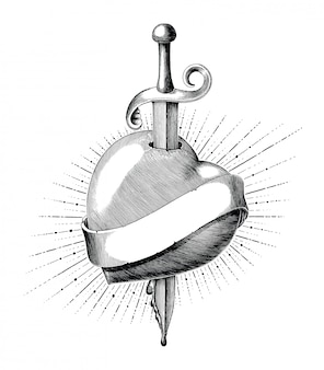 Heart with sword tattoo hand draw vintage engraving style isolated on white backgound
