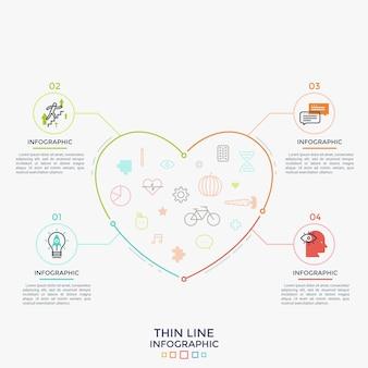 Сердце с символами медицины, здравоохранения и здорового образа жизни внутри связано с 4 круглыми пронумерованными элементами, плоскими значками и местом для текста. шаблон оформления инфографики. векторная иллюстрация.