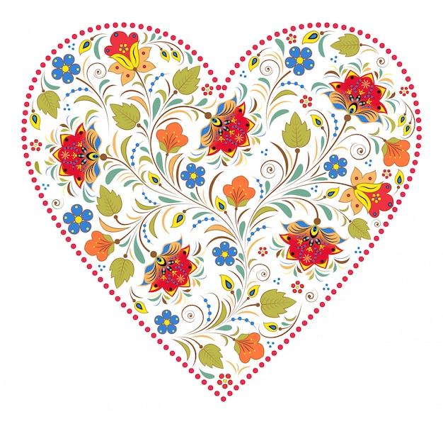 Сердце с традиционным русским узором