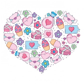 Heart with valentines day icons