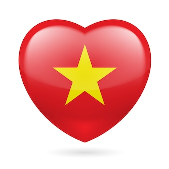 Heart with vietnamese flag colors. i love vietnam