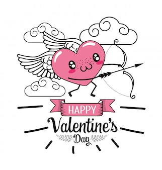 Heart with wings and arrow to valentines day