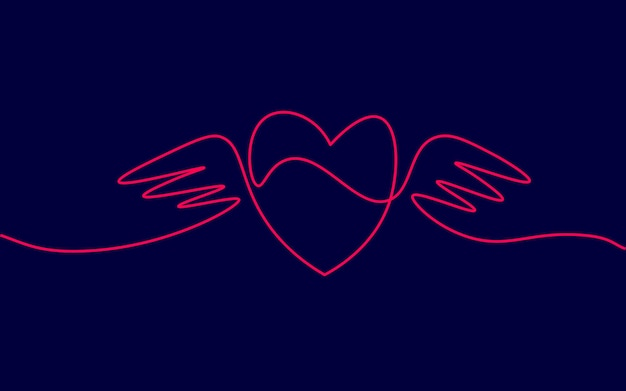 Heart with wings single continuous line art. romantic love date relationship couple silhouette concept design one sketch outline drawing dark vector illustration.