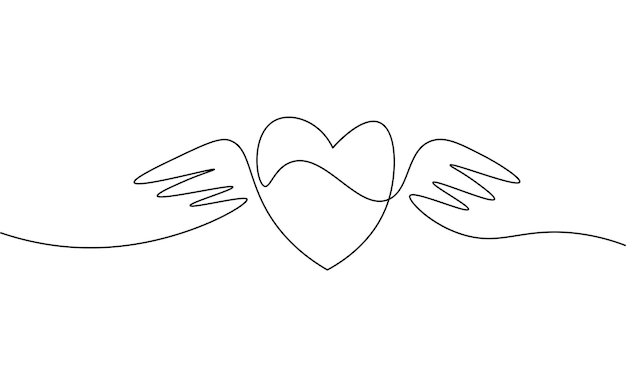 Heart with wings single continuous line art. romantic love date relationship couple silhouette concept design one sketch outline drawing white vector illustration.