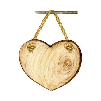 심장 나무 간판, 빈 빈 절연입니다. 수채화 빈티지 오래 된, 레트로 손으로 그린 나무 배너, 판자, 보드. 텍스트를위한 공간으로 그림입니다. 메시지 표시.