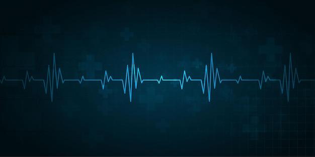 ハートビートヘルスケアと科学のアイコン医療イノベーションコンセプト背景ベクトルデザイン。