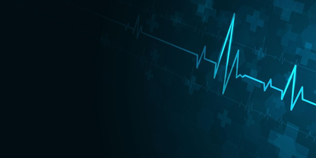Heartbeat health care and science icon medical innovation concept background vector design.