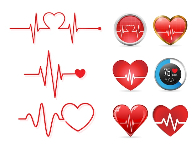Heartbeat icon set