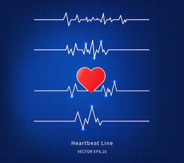 Heartbeat line icon on blue background.