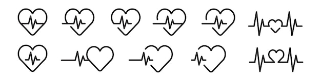 Heartbeat line icon set in black.