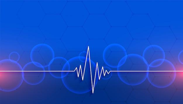 하트 비트 라인 의료 및 의료 블루 디자인