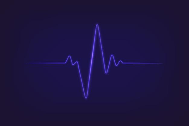 Сердцебиение неонового света. значок пульса сердца экг
