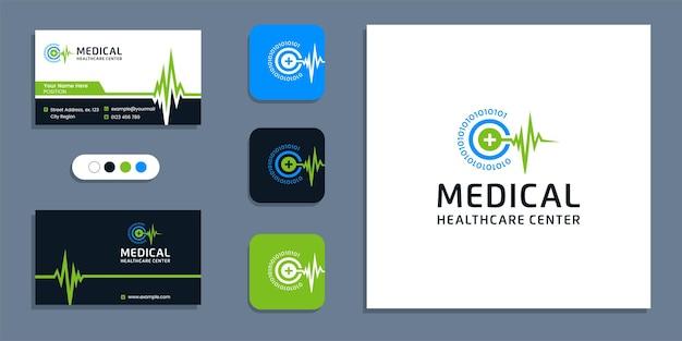 Символ пульса сердцебиения, логотип медицинского здравоохранения и шаблон вдохновения дизайна визитной карточки