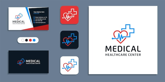 Heartbeat pulse symbol, medical healthcare logo and business card design inspiration template