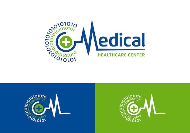Heartbeat pulse symbol, medical healthcare logo design template inspiration