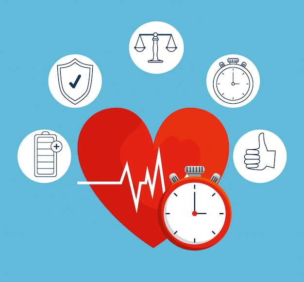 Heartbeat with chronometer to healthy lifestyle balance